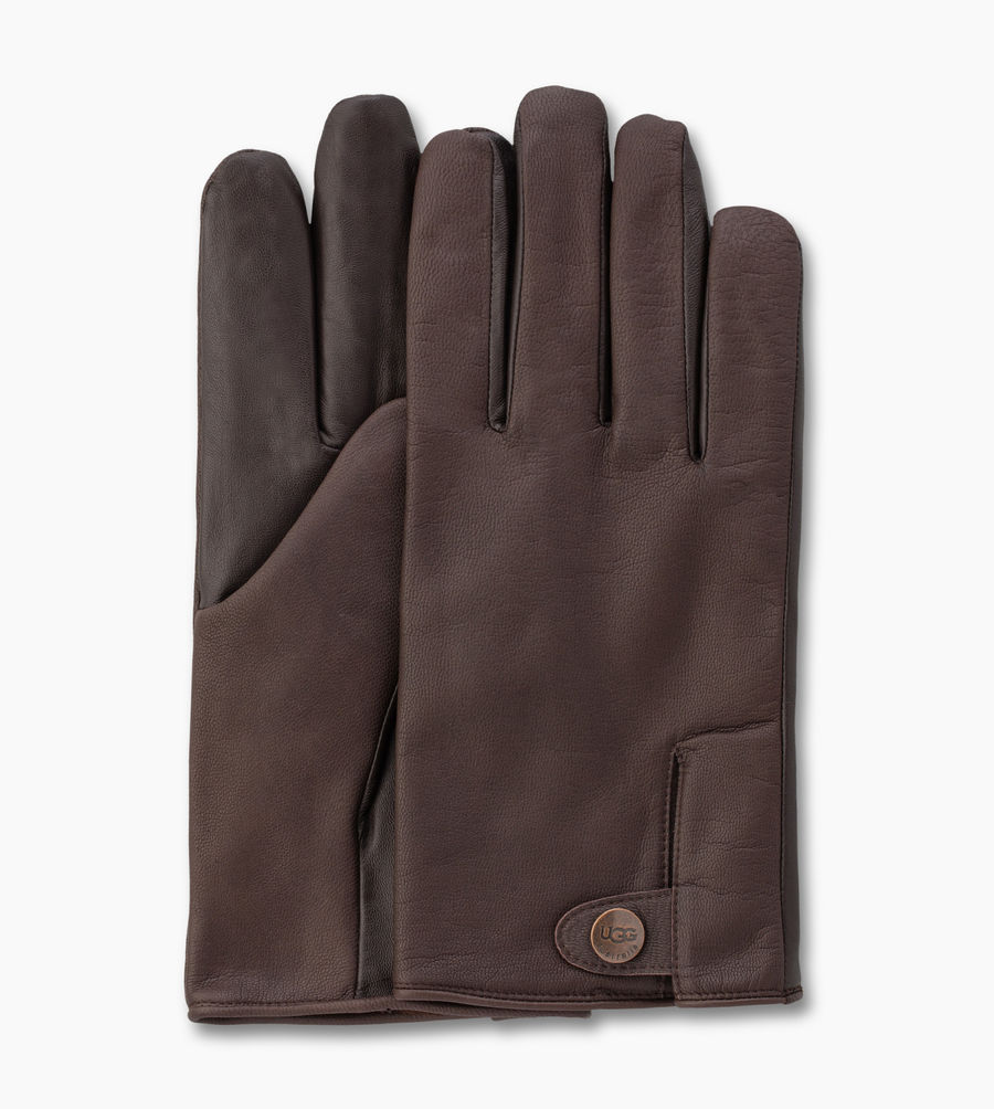CHEAP UGG MEN'S LEATHER SMART SNAP GLOVE BROWN ONLINE