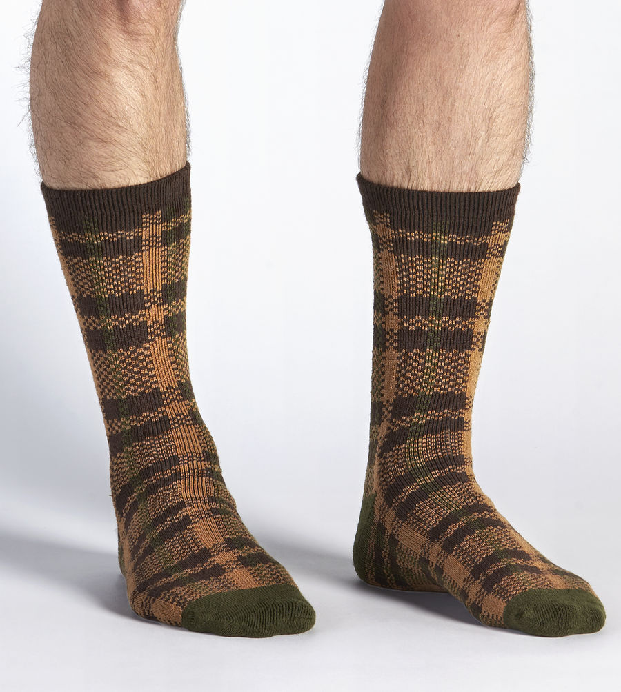 CHEAP UGG MEN'S PLAID CREW SOCK CHESTNUT PLAID ONLINE
