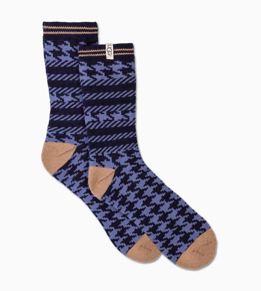 CHEAP UGG MEN'S MIXED HOUNDSTOOTH CREW SOCK NAVY HOUNDSTOOTH ONLINE