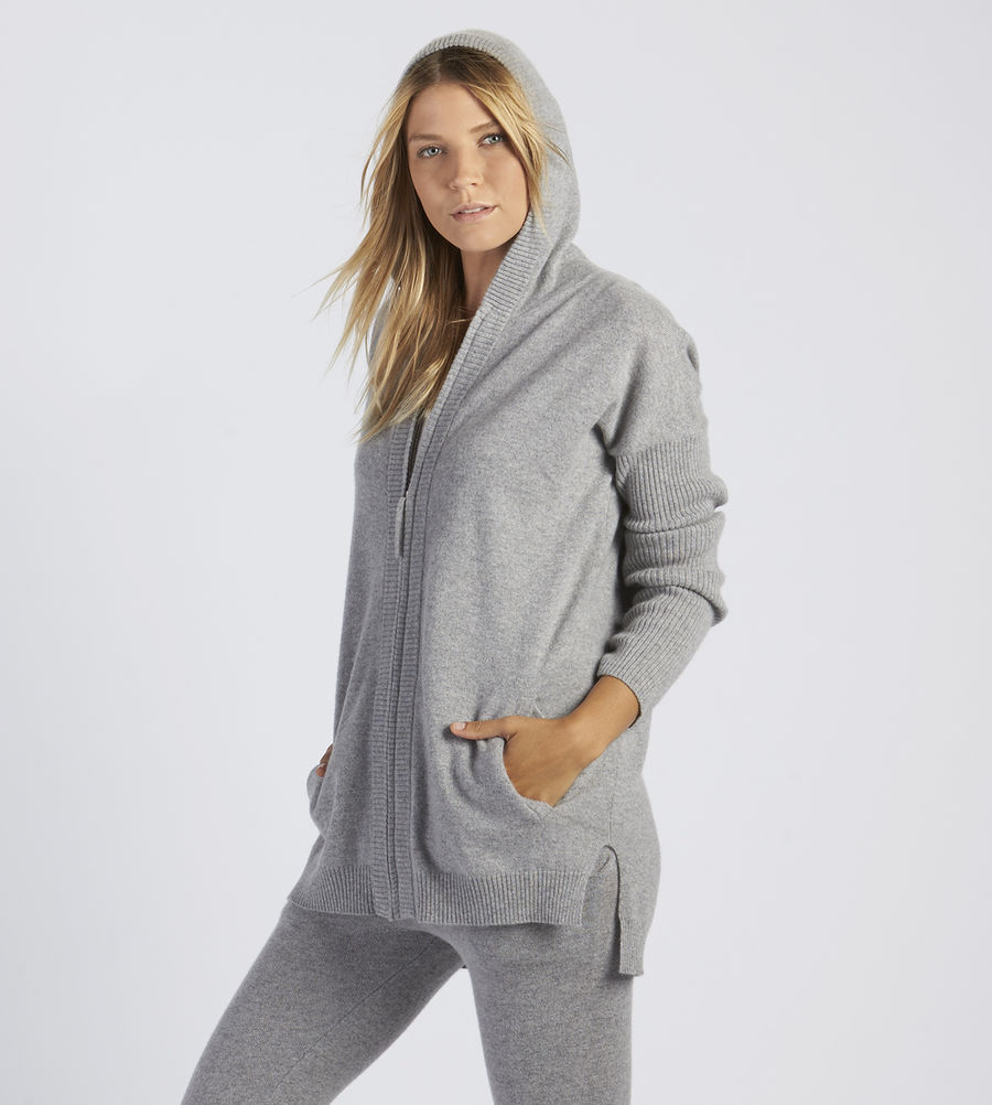 CHEAP UGG WOMEN'S SAVANNAH CASHMERE HOODIE GREY HEATHER ONLINE