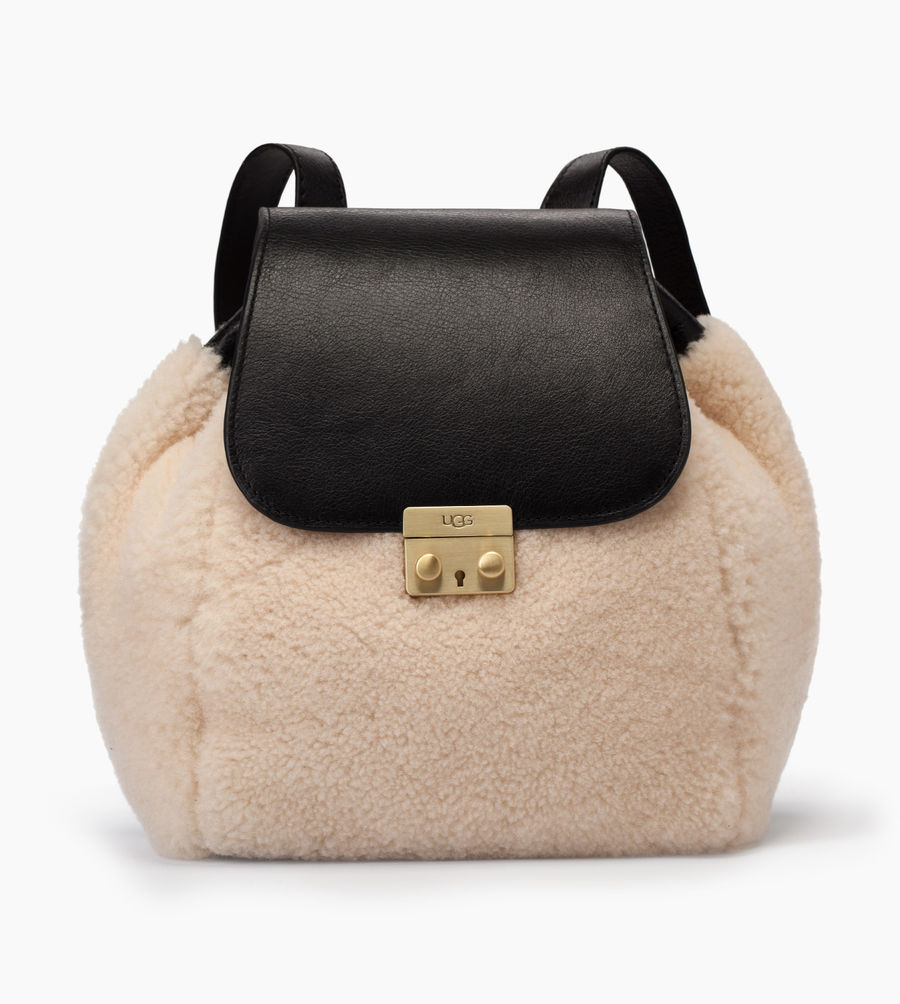 CHEAP UGG WOMEN'S VIVIENNE SHEEPSKIN BACKPACK BLACK/NATURAL ONLINE