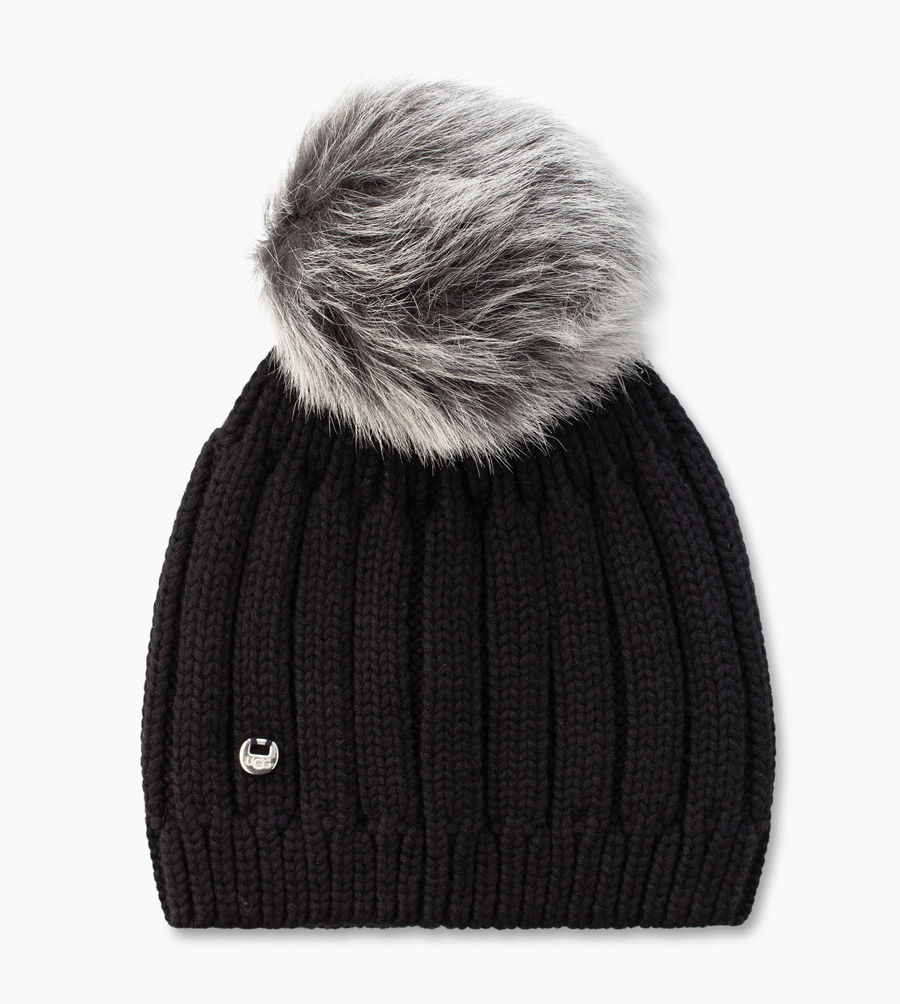 CHEAP UGG WOMEN\'S SOLID RIBBED BEANIE BLACK M ONLINE