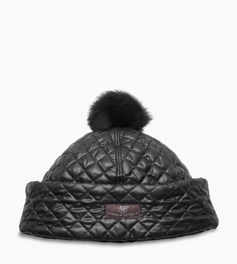 CHEAP UGG WOMEN'S QUILTED POM HAT BLACK MULTI ONLINE