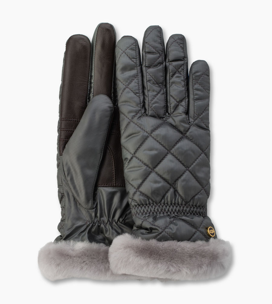 CHEAP UGG WOMEN'S QUILTED FABRIC SMART GLOVE GREY MULTI ONLINE